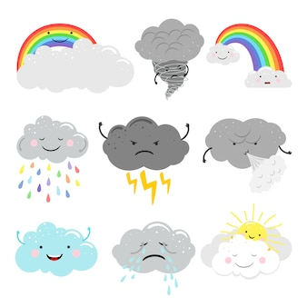 Cute emotional clouds weather emoticons