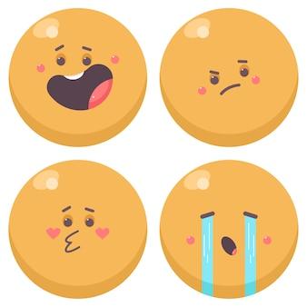 Симпатичные эмоции персонажей мультфильма набор, изолированные на белом фоне.