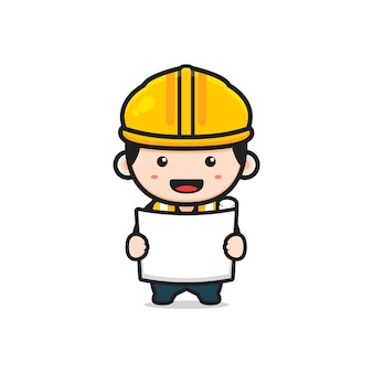 Cute engineer architect holding paper sketch cartoon icon illustration. design isolated flat cartoon style