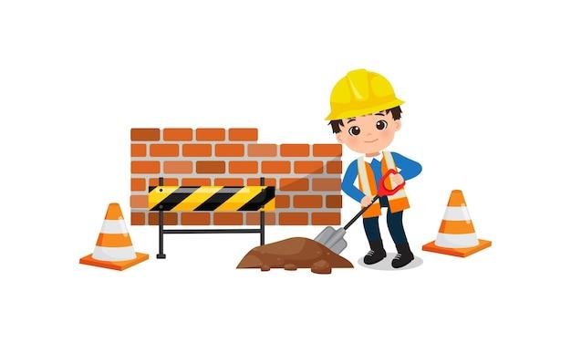 Симпатичный мальчик-инженер, работающий с лопатой под строительство иллюстрации концепции плоский векторный мультфильм
