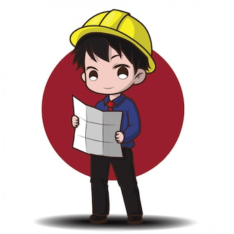 Cute engineer cartoon character.