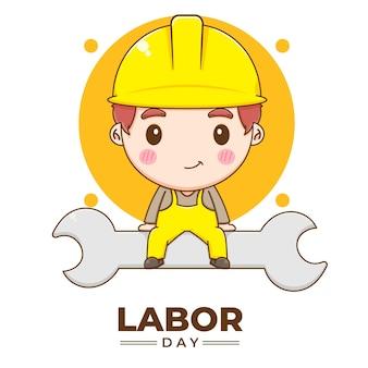 노동절 만화 그림을 축하하는 귀여운 엔지니어