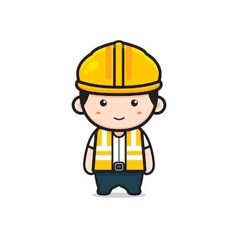 Симпатичный инженер персонаж мультфильма значок иллюстрации. дизайн изолированные плоский мультяшном стиле