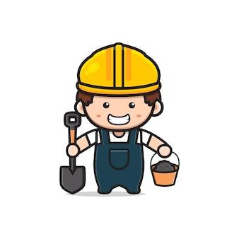 삽과 시멘트 만화 아이콘 삽화를 들고 있는 귀여운 엔지니어 건설 노동자. 디자인 고립 된 평면 만화 스타일