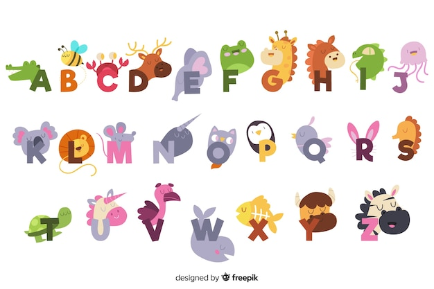 Cute english alphabet with animals