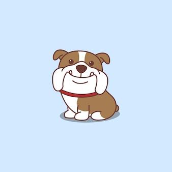 Cute english bulldog sitting cartoon icon
