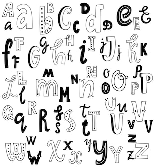 Cute english hand written alphabet, vintage vector font. lowercase and uppercase letters, fine for card, lettering, poster