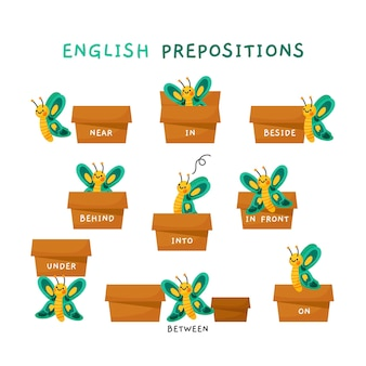 Cute english prepositions with butterflies