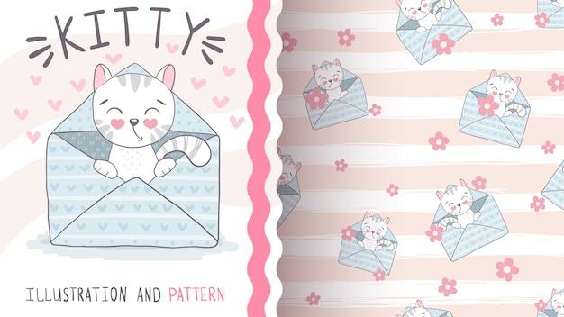 Cute envelope cat - seamless pattern