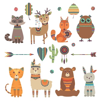 Cute ethnic animals. tribal kid wild zoo bear owl raccoon tiger with feathers arrows