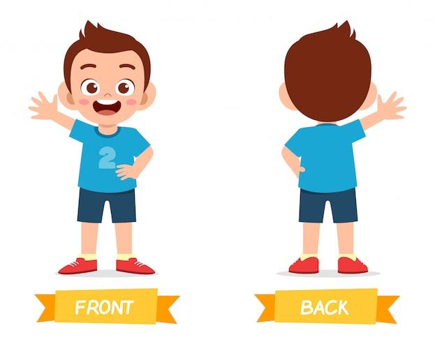 Cute example of opposite word antonim for kid