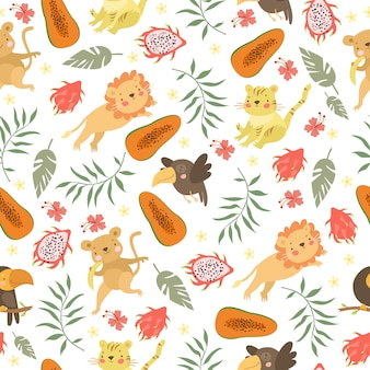 Cute exotic animal pattern