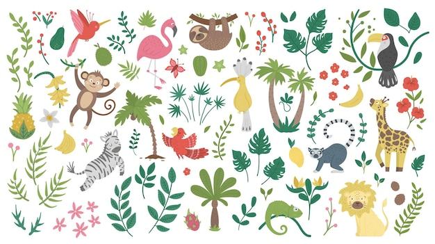 Cute exotic animals, leaves, flowers and fruits isolated