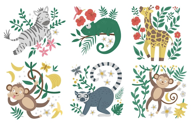 Cute exotic animals, leaves, flowers, fruits
