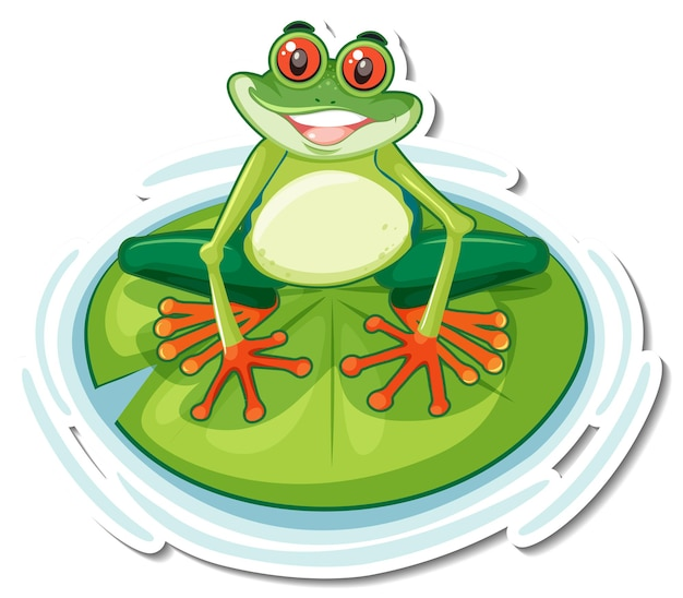 Cute exotic frog cartoon sticker on white background