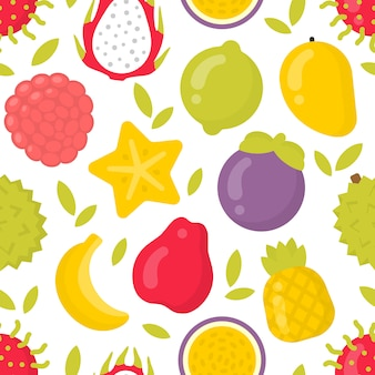 Cute exotic fruits, seamless pattern on white