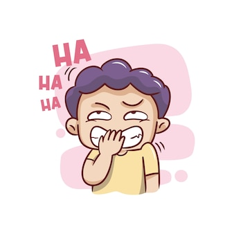 The cute expression of the boy laughing