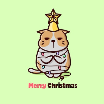 Cute expression orange cat in christmas day