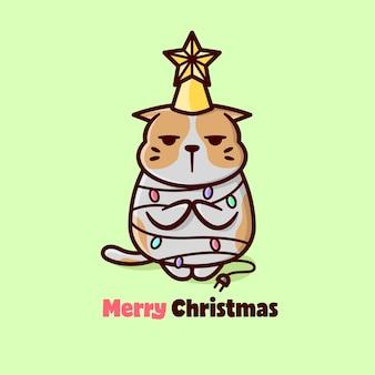 크리스마스 날에 귀여운 표현 주황색 고양이
