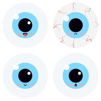 Cute eyeball emoticon vector set isolated on white background. flat design kawaii cartoon style illustration sweet eyeball kids character happy, smilling, enthusiastic, surprised, sad bloodshot emoji
