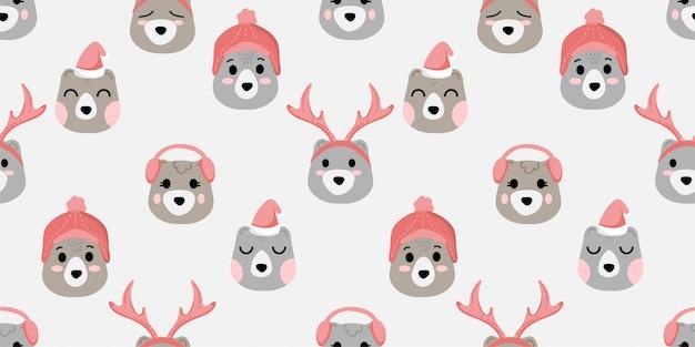 Cute face bear animal seamless pattern doodle winter theme