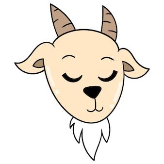 Симпатичное лицо блондинка голова антилопы, векторные иллюстрации картонный смайлик. рисунок значок каракули
