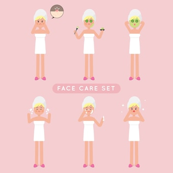 Cute face care girl set