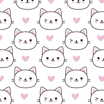 Cute face cat pattern with pink heart