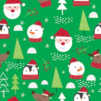 Cute face christmas character, cute santa claus, reindeer, snowman and penguin