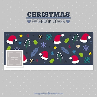 Cute facebook cover with christmas items