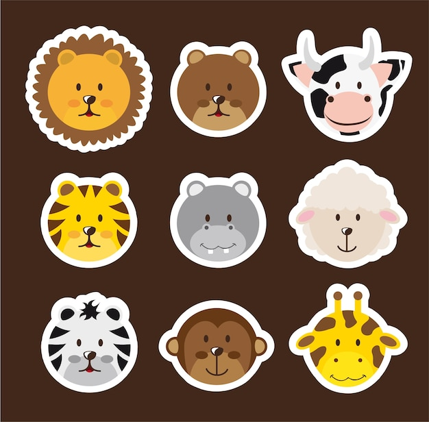Cute faces animals over brown background vector illustration
