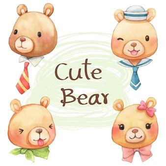 Cute faces bear cartoon watercolor