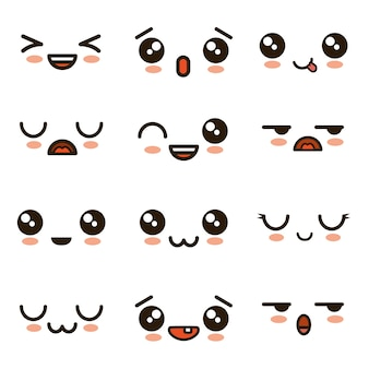 Cute faces kawaii emoji cartoon