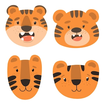 Cute faces of tigers childrens illustration vector isolates on a white background