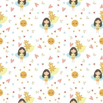 귀여운 요정과 꽃 seamleass 패턴 / 배경