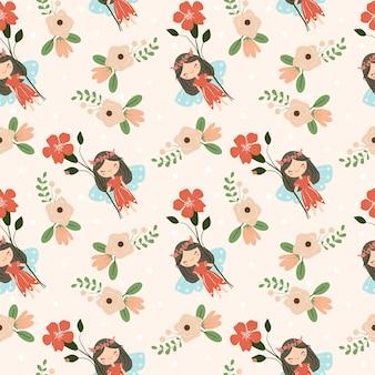 귀여운 요정과 꽃 원활한 패턴