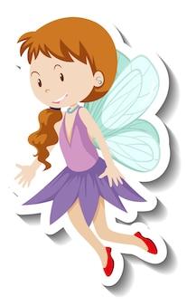 Наклейка с милой феей и персонажем из мультфильма