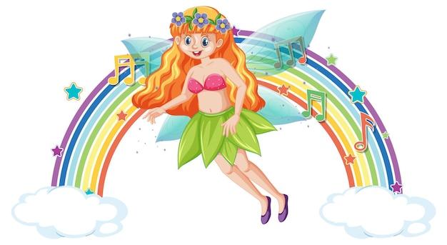 Simpatico personaggio dei cartoni animati fata con arcobaleno