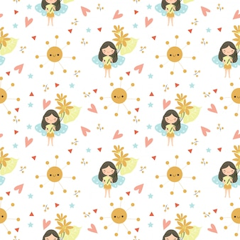 Cute fairy and flower seamleass pattern/background