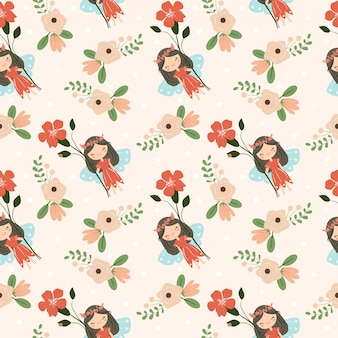 Cute fairy and flower seamless pattern