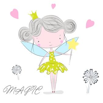 Cute fairy girl cartoon hand drawn