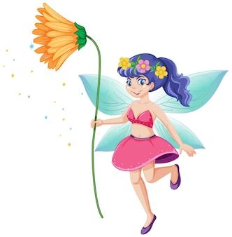 Fata carina che tiene un personaggio dei cartoni animati di fiore giallo
