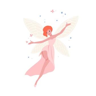 아름다운 가운과 흰색 배경에 고립 된 빨간 머리를 가진 귀여운 요정. 민속 신화의 마법 생물, 전설 또는 동화 캐릭터. 유치 한 평면 만화 벡터 일러스트 레이 션. 프리미엄 벡터