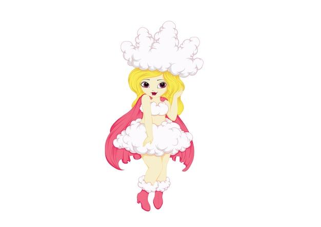 Cute fairy princess girl cloud queen