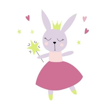 スカンジナビアスタイルのフラットイラストの王冠を持つかわいい妖精ウサギ