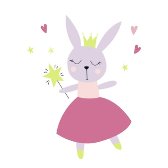 Cute fairy rabbit with a crown in scandinavian style flat illustration