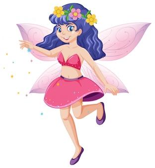 白い背景の上のかわいい妖精立っている位置の漫画のキャラクター