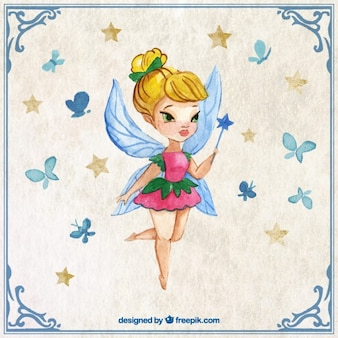 Cute fairy with a wand in a watercolor effect