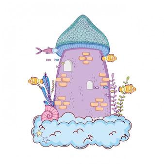 Милый сказочный замок в облаке подводной сцены