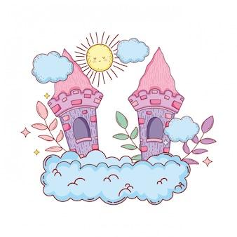 Милый сказочный замок в облаке